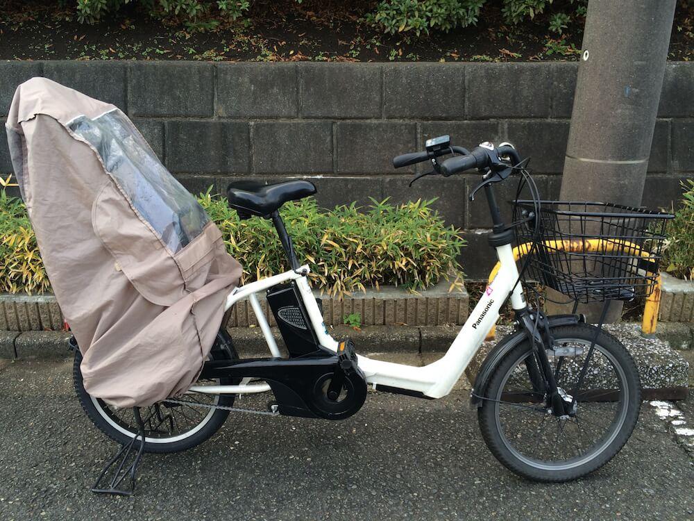 子供乗せ自転車のチャイルドシート用雨避けレインカバー横写真