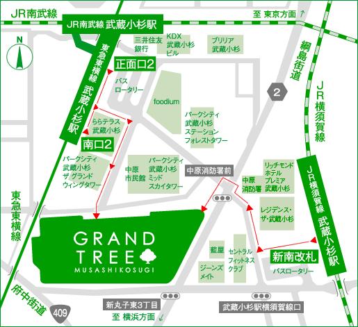 グランツリー武蔵小杉アクセスマップ