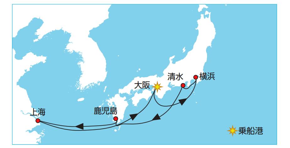 大阪発着クルーズ7泊8日 コース 料金