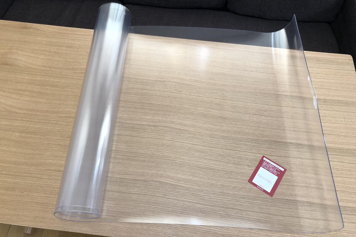 無印のリビングでもダイニングでもつかえるテーブル透明カバー2