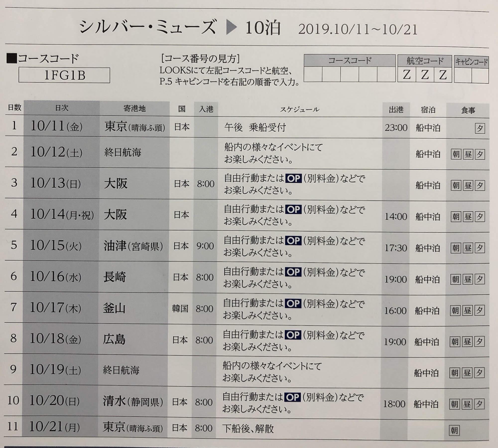 シルバーミューズ日本発着クルーズコース